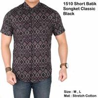 Jual Kemeja Batik Songket Klasik Lengan Pendek Hitam / Baju Batik Modern Murah