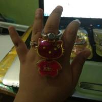 Jual airing karakter hello Kitty iring motif water gliter i ring holder Murah