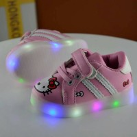 Jual LED HK Love Import Tali Perekat - Sepatu Lampu Kets Hello Kiity Pink Murah