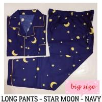 Piyama Dewasa Big Size Star Moon Navy Long Pants