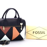 Tas Fossil Erin Patchwork Satchel Leather HITAM Semi Premium AP124