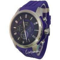 Alexandre Christie 142967 Chronograph Tali Karet Jam TanganPria Silver