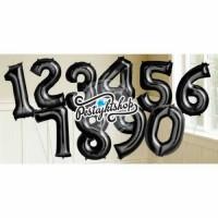 Jual Balon angka hitam | Balon huruf hitam | Balon foil | Souvenir ultah Murah