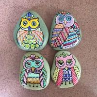 Jual 1 Set Batu Lukis Burung Hantu / Owl Murah