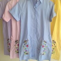 Jual Shirt dress embroidery bird flower bangkok Murah