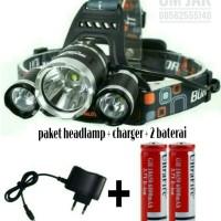 Paket Senter Kepala Headlamp Boruit 3 LED Cre XML-T6 5000 Lumens