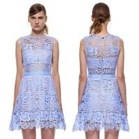 Jual DRESS PREMIUM - Self Portrait Blue Lace Runway Embroidery Murah