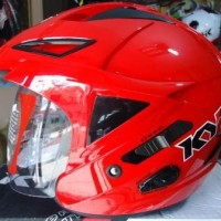 Helm KYT Scorpion King Red Solid Half Face Double Visor Merah Polos