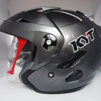 Helm KYT Forever Half Face Double Visor Grey Gunmet Metal Solid