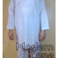 Jual Stelan Baju Koko Pakistan Putih Bordir Lengan Panjang dan Celana Murah