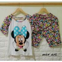 Baju Setelan Motif Minnie Mouse Big Face Ribbon Blue Dot Piyama Murah