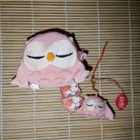 Jual Chirimen Owl Set of Wallet and Charm in Pink Murah