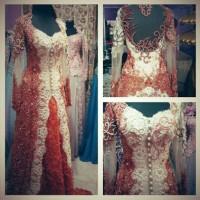 Baju Kebaya pengantin muslimah modern Orange