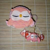 Jual Chirimen Owl Set of Wallet and Charm in Peach Murah
