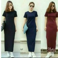 Jual long drees plain maxi maroon dan navy Murah