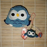 Jual Chirimen Owl Set of Wallet and Charm in Blue Murah