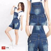 celana overall jeans pendek jsk 1718 / celana kodok hotpants
