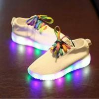 Jual sepatu led putih tali warna Murah