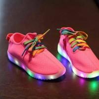Jual sepatu led pink tali warna Murah