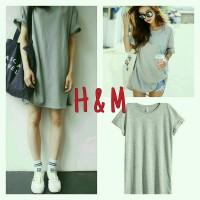 Jual H&M grey long tee casual basic  Murah