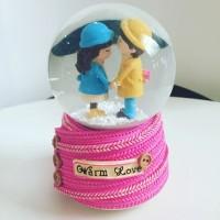 Jual Kotak Musik Snow Globe Bola Kristal Kaca Salju Lampu SK093A pink coupl Murah