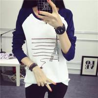Jual Kaos Polos Lengan Panjang/Korea Shirt#6000274.32(Size:M/L/XL) Murah