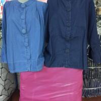 Jual New Jumbo Blouse Tangan Balon Polos Jeanswr308 Murah