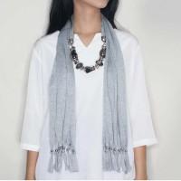 Jual 028E8Br syal + Scarf Fabric Gemstone Pendant Grey Murah
