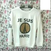 Tumblr Tee/T-Shirt Wanita/Kaos Cewek/Tee White Je SUIS Paris Sweater