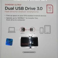 Jual Sandisk Ultra Flashdisk Dual USB Drive 3.0 OTG 16GB - Black Murah