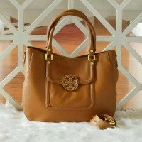 LEBARAN SALE TORY BURCH Amanda Classic Handle Hobo Royal Tan