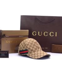 Topi Gucci Canvas GG-Original Web Coklat Tua PHC001