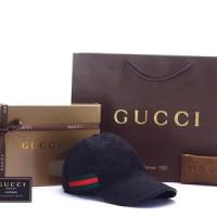 Topi Gucci Canvas GG-Original Web Hitam PHC001