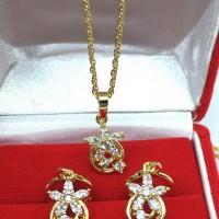 Set Perhiasan Wanita Kalung Anting Lapis Emas 18k Bunga Bulat - BN026