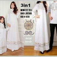 3in1 couple gamis bordir katun abaya syar'i ibu , ayah dan anak
