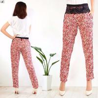 Jual F BEST SELLER [Pants Leopard Merah SW] celana wanita Rayon bangkok mer Murah