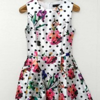 Solemio White Flower Polkadot Dress Polyester