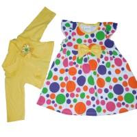 Jual Dress Baby plus Rompi motif polkadot Color (AVAILABLE 3 COLOR) Murah