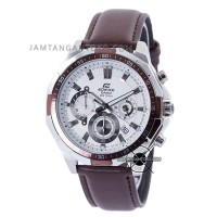 Jual Jam tangan Edifice Kulit EFR-554L-7AV Coklat Plat Putih Murah