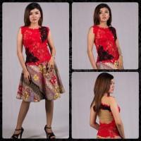 Baju Pesta Wanita Kebaya Merah Setelan Kebaya Brokat Rok Pendek Katun