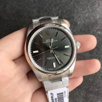 Jam Replika Rolex Oyster Perpetual Gray Dial on SS Bracelet Swiss ETA