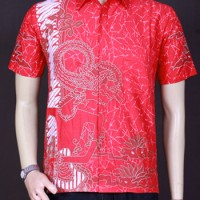 Jual Baju Batik, Kemeja Batik, Batik Wayang Merah Murah