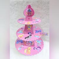 Tier Cupcake Stand 3 Tingkat Motif Gambar Karakter My Little Pony Pink