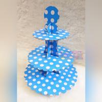 Tier Cupcake Stand 3 Tingkat Motif Polkadot Tema Warna Biru Putih
