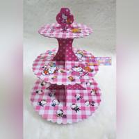 Tier Cupcake Stand 3 Tingkat Motif Gambar Karakter Hello Kitty Pink