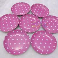 Piring Kertas Kue Ulang Tahun Motif Polkadot Tema Warna Pink Putih