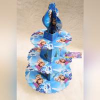 Tier Cupcake Stand 3 Tingkat Motif Gambar Karakter Frozen Warna Biru
