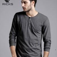 Jual Baju Kaos Pria Henley Lengan Panjang by RICKS (BEST SELLER) Murah