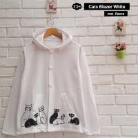 Jual Baju Atasan Wanita Sweater Cewek Putih Fleece Cats Blazer White Cardie Murah