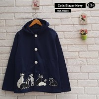 Baju Atasan Wanita Sweater Cewek Biru Fleece Cats Blazer Navy Cardigan